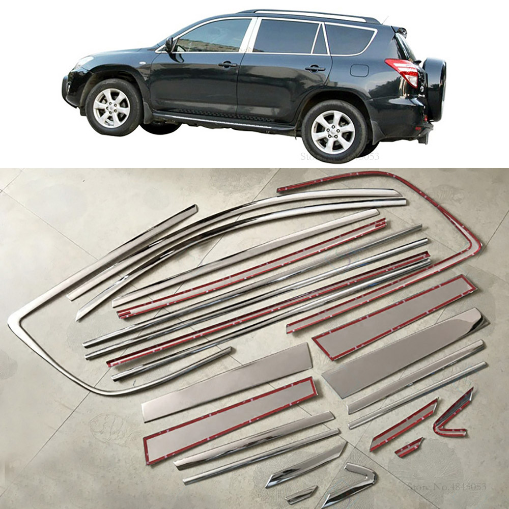 Fit For Toyota RAV4 <font><b>RAV</b></font> <font><b>4</b></font> Stainless Steel Center Pillar 2009-2012 Side Door Body Up Window Sill Cover Trims car Styling 24Pcs image
