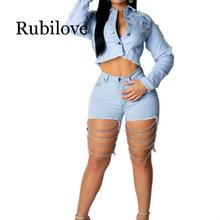 Rubilove Female Jeans shorts Sexy Women Casual Pale Summer Nightclub Shredded Chain Washed 2019 New Fashion