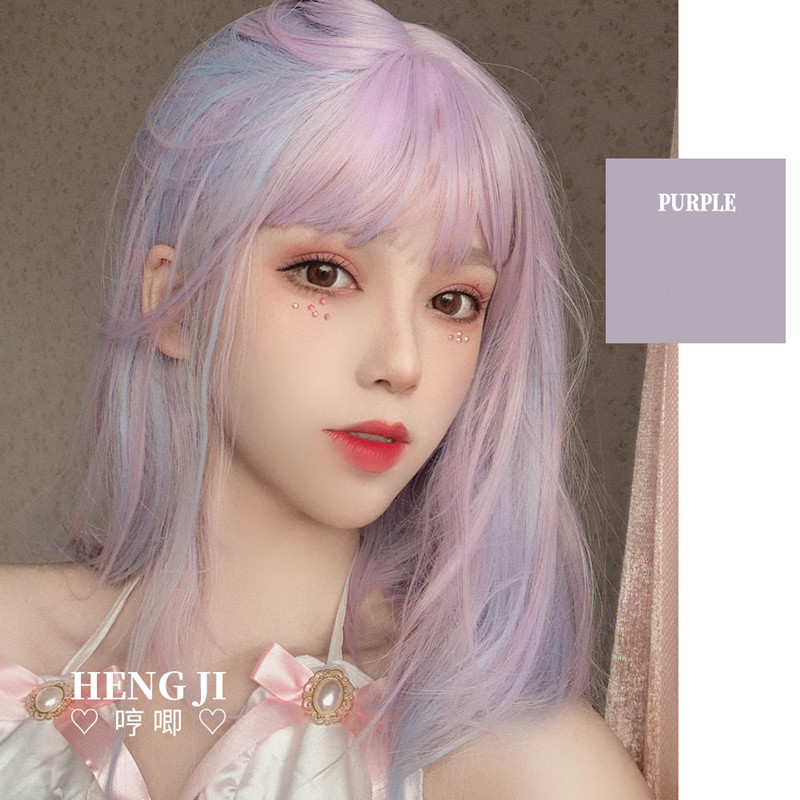 Uwowo Purple And pink Wig Staight Lolita Wigs Cosplay Wigs Heat Resistant Synthetic Hair Anime Party wigs Colourful hairAnime Costumes   -