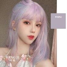 先行販売uwowo紫とピンクかつらstaightロリータかつらコスプレ耐熱人工毛アニメパーティーかつら髪