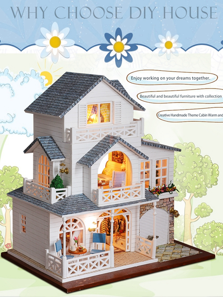 Doll House Furniture Diy Miniature Dust Cover 3D Wooden Miniaturas Dollhouse Toys For Children Birthday CHRISTMAS Gifts Casa K11