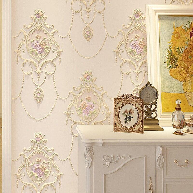 Grand Papier Peint européen Floral 3d pour mur Mural Non-tissé fleur Papier Peint rouleau salon chambre revêtement Mural Papier Peint