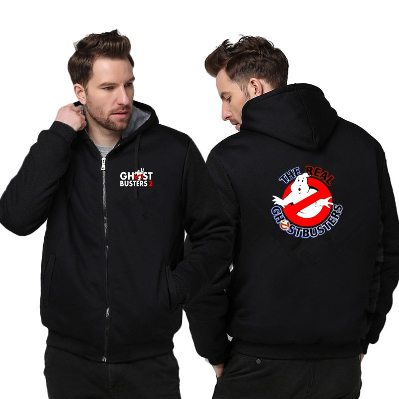 New Ghost Busters Thicken Hoodie Sweatshirts Cosplay Costume Anime Winter Warm Coat Hooded Men Clothing