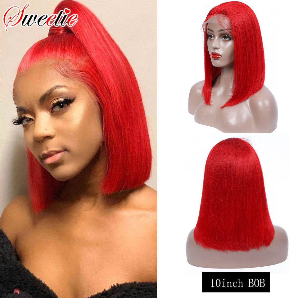 Ombre Bob Lace Front Wigs Human Hair 13X6 Pre Plucked 613 Blonde Red Blue Grey Green 150% Short Bob Wigs For Black Women Remy image