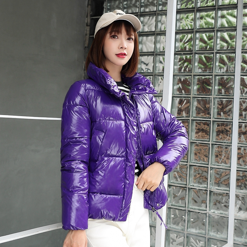 2019 New Glossy Winter Down Cotton Padded Jacket For Women Thick Bright Black Short Shiny Jacket Yellow Red Cotton   Parkas