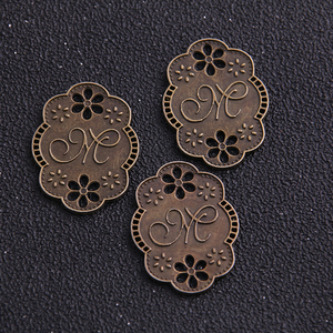 6pcs Fashion Jewelry Findings,metal tags for jewelry,Alloy Antique Bronze 30*23MM M- plate letter charms