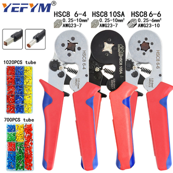 Tubular terminal crimping tools mini electrical pliers HSC8 10SA/6-4 0.25-10mm2 23-7AWG 6-6 0.25-6mm2 high precision clamp sets 1