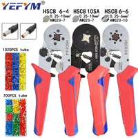 Herramientas de prensado de terminales tubulares mini alicates eléctricos HSC8 10SA 0,25-10mm2 23-7AWG 6-4A/6-6A 0,25-6mm2 conjunto de abrazadera de alta precisión