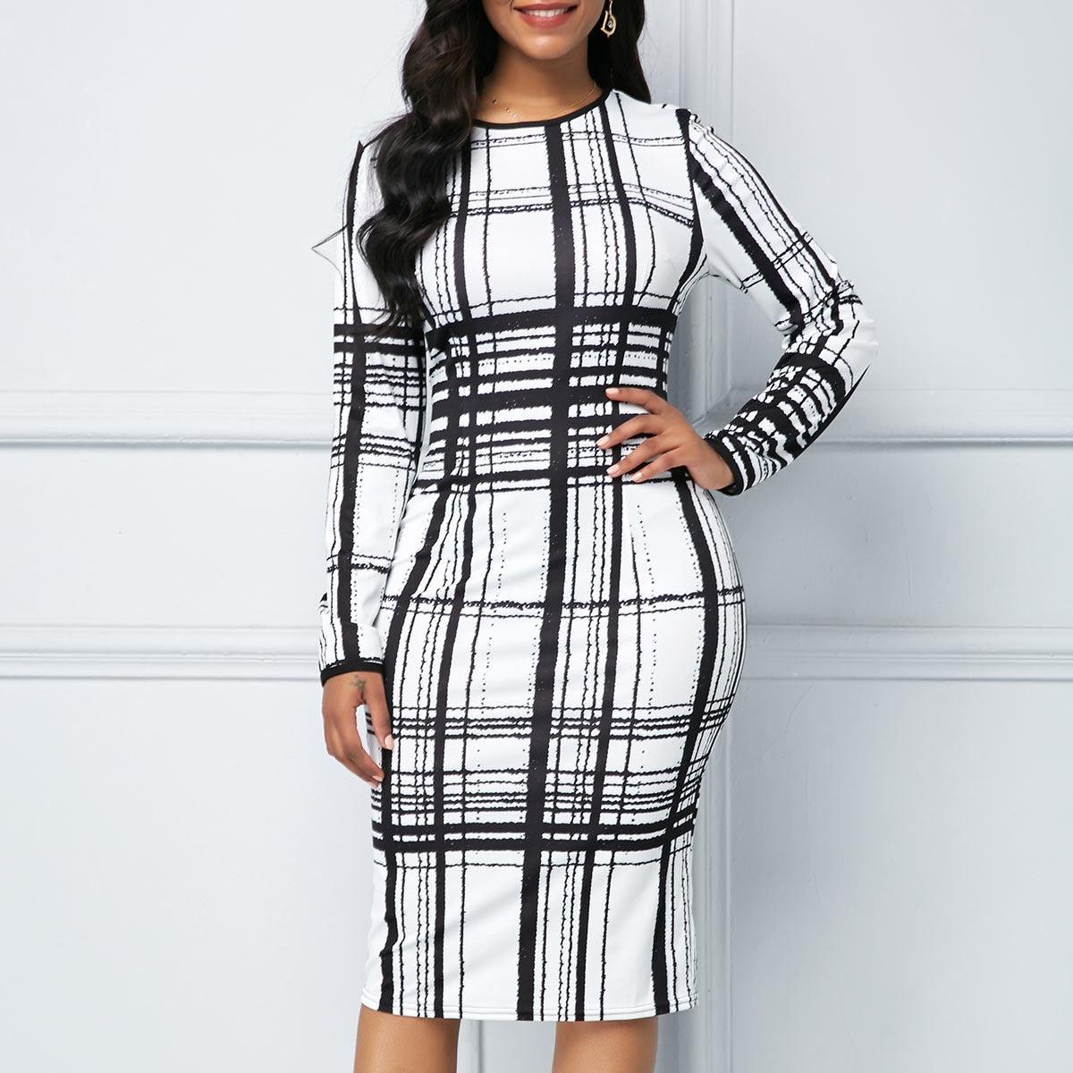 Black White Plaid Women Dress