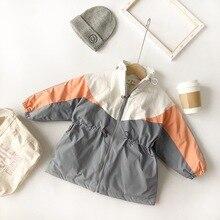 Cappotto Nuovo di Arrivo di inverno della ragazza del cotone di stile coreano addensato corrispondenza dei colori di moda giacca lunga per fresco dolce del bambino delle ragazze