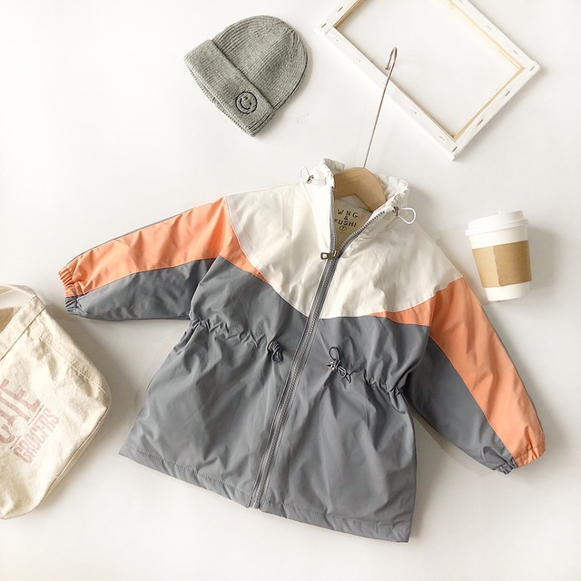 Winter girls coat New Arrival korean style cotton thickened matching colors fashion long jacket for cool sweet baby girls