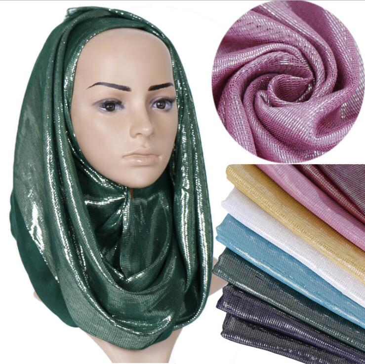 Glitter Cotton Fringe Scarf Sliver Shimmer Wrap Headband Viscose Lurex Hijab Muslim Women's Long Shawl Maxi Turban Headscarf