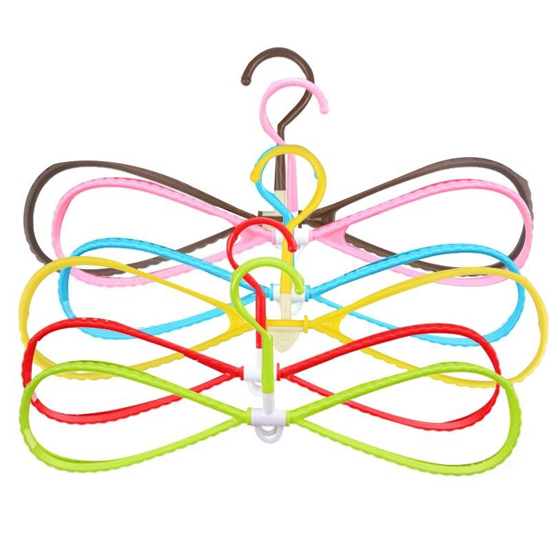 6Pcs/Set 8-Shaped Plastic Non-Slip Hanger Space Saving Clothes Drying Rack Hanger Coat Hangers