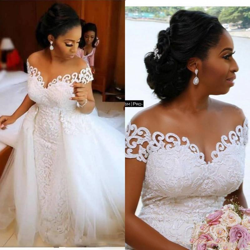 African Mermaid Wedding Dresses Off Shoulder Lace Appliques Beaded Open Back Tulle Detachable Train Formal Bridal Gowns