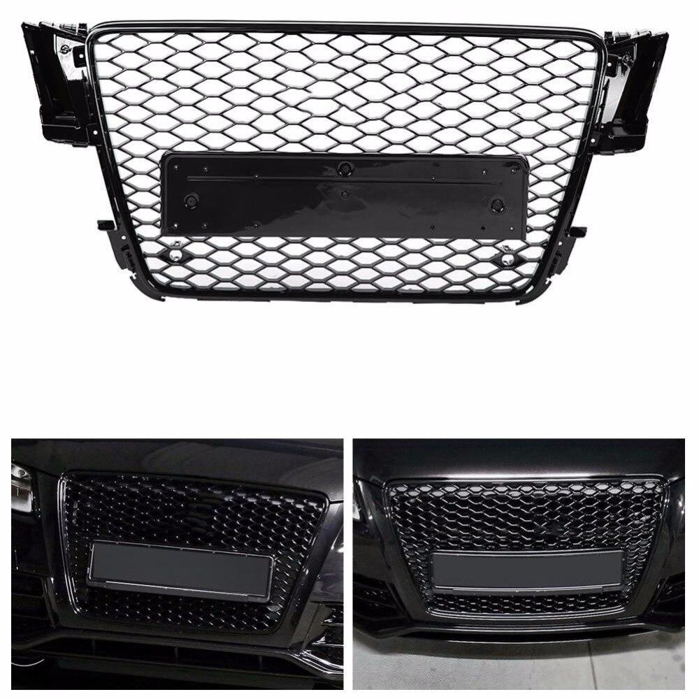 Dla RS5 styl przedni Sport siatka sześciokątna o strukturze plastra miodu kaptur Grill czarny błyszczący dla Audi A5/S5 B8 2008 2009 2010 2011