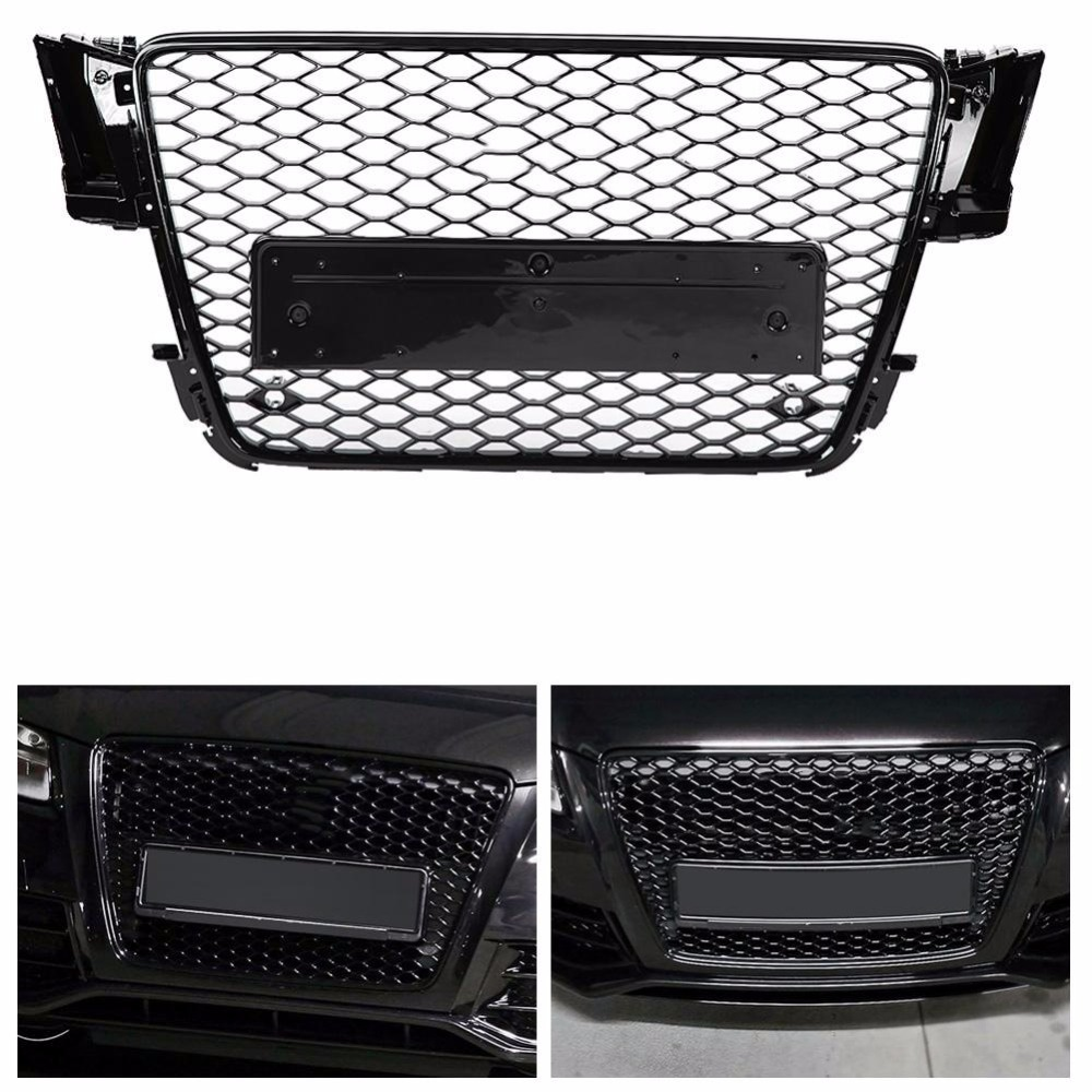 For RS5 Style Front Sport Hex Mesh Honeycomb Hood Grill Gloss Black for Audi A5/S5 B8 2008 2009 2010 2011