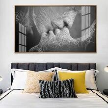 Абстрактный постер kiss love Картина на холсте черно белые настенные