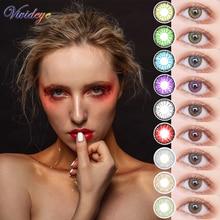 Cosmetic-Contact-Lenses Beautiful Pupil Eye-Color Vivid Yearly-Use 2pcs/pair 3-Tone Bule