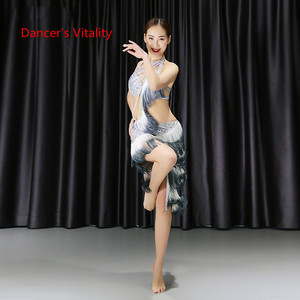 Image 5 - Belly Dance Bra+Split Skirt Profession Performance Clothing Female High End Sexy Tassel Suits Practice Clothes Spring And Summer