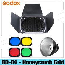 Godox BD-04-siatka o strukturze plastra miodu drzwi do stodoły siatki o strukturze plastra miodu z 4 kolor żel filtr + Bowens reflektor dla standardowy reflektor tanie tanio CN (pochodzenie) Godox BD-04 - Honeycomb Grid ROUND