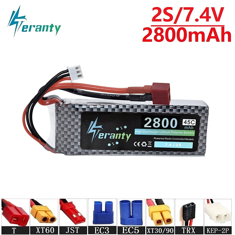 Teranty Power 45C 7.4v <font><b>2800maH</b></font> <font><b>Lipo</b></font> Batterry For RC Drone Boat Quodcopter Spare Part <font><b>2s</b></font> 2200mah 7.4v Rechargeable battery RC Car image