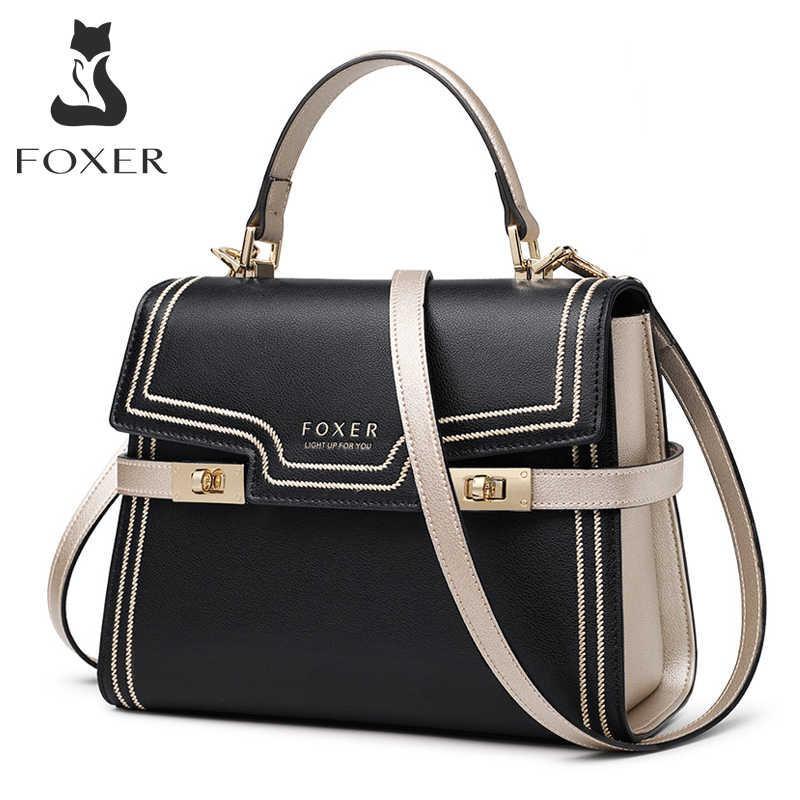FOXER 여성 Crossbody 어깨 가방 대용량 가죽 메신저 가방 여성 럭셔리 지갑 세련된 레이디 중간 핸드백 Totes