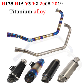 Motorcycle Exhaust Full Slip For Yamaha R125 R15 V3 2008 - 2019 Escape Modified Connect Front Middle Link Pipe Muffler DB Killer