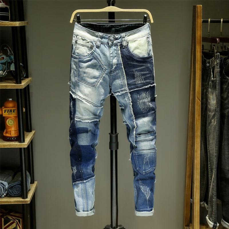 Men Jeans Splice Jean Homme Skinny Denim Ripped Spijkerbroeken Heren Biker Stretch Pants Slim Fit Trousers Warm Pantalon Luxe