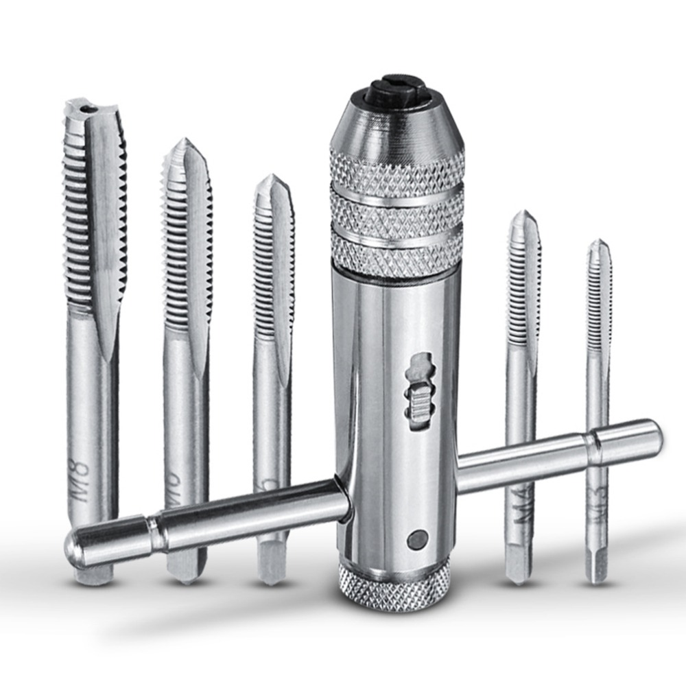 5PCS/Set Adjustable M3-M8 T-Handle Ratchet Tap Wrench Machinist Tool Reversion With 1PCS Screw Tap