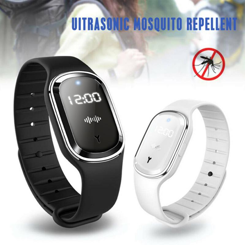 Smart Mosquito Repellent Bracelet Ultrasonic Outdoor Pest Repellent Wrist Bracelet Anti Insect Pest Bugs LED Display USB Power K