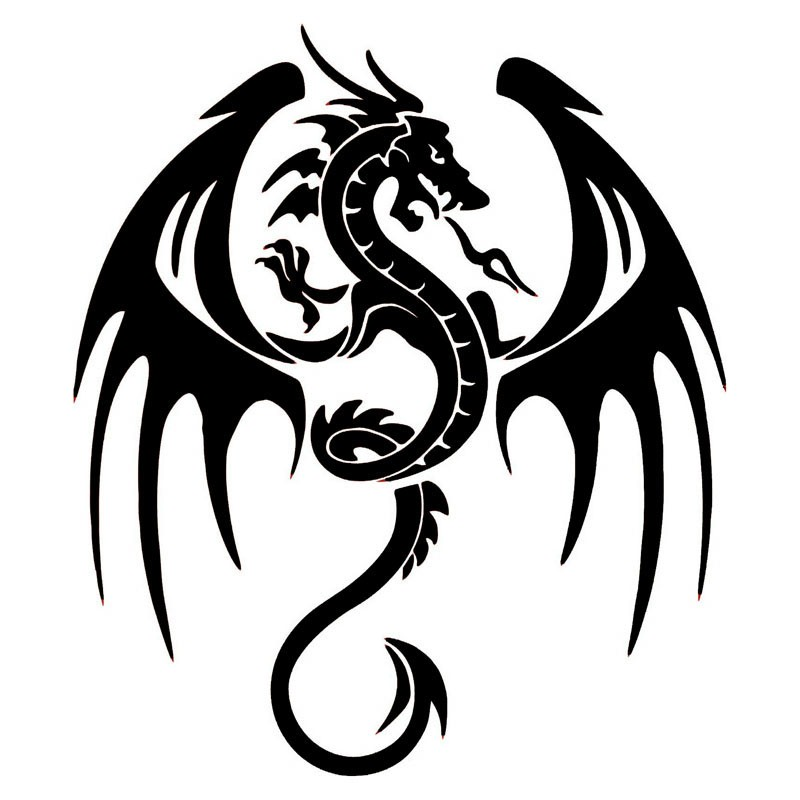 14.3*16.5CM Ancient Animal Dragon Stylish Car Accessories Vinyl Stickers And Decals Black