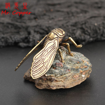 Antique Copper Cicada Figurines Home Decor Accessories Vintage Brass Animal Statue Small Ornaments Office Desk Decorations Craft 1