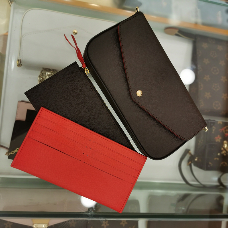 Free Shipping! Luxury Brand Three-in-one Handbag Pochette Felicie Chain Bag Three-piece Quick Bag Metis Bag Monogram Card Bag