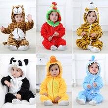 Erkek bebek kız Romper sıcak kış sevimli Panda hayvan Romper genel yumuşak uzun kalınlaşmak Romper giysileri yeni doğan kapşonlu pijama