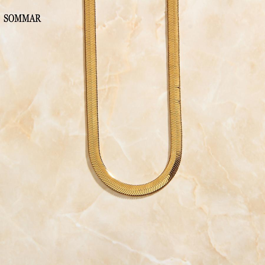 SOMMAR 18KGP Gold Filled 5MM 50CM  collar women necklace flat snake chain Ins man chains Minimalist choker Costume Jewellery