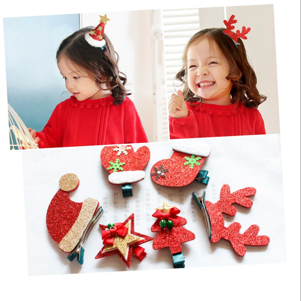 Women Girls Cute Christmas Hairpins Hair Clip Bands Cartoon   Headwear   Kids Barrettes Shinning Large Antler Gift Hair Accessories