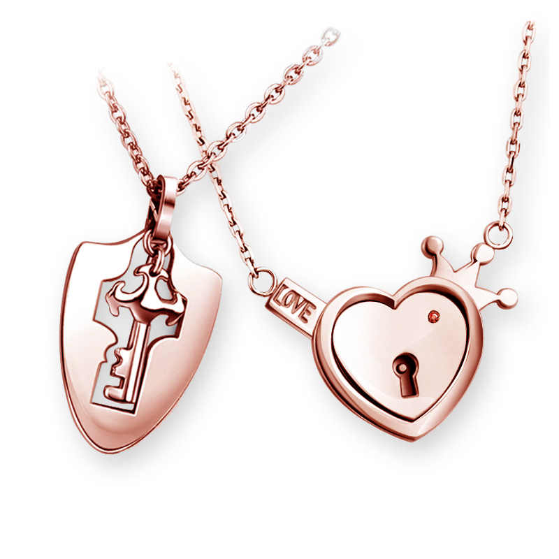 Pendant Necklace Jewelry-Sets Wedding-Gift Love-Heart-Lock Stainless-Steel Fashion Key