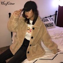Hugcitar 2019 Faux lambswool zip-up long sleeve coat autumn winter women warm jacket windbreak outfits streetwear