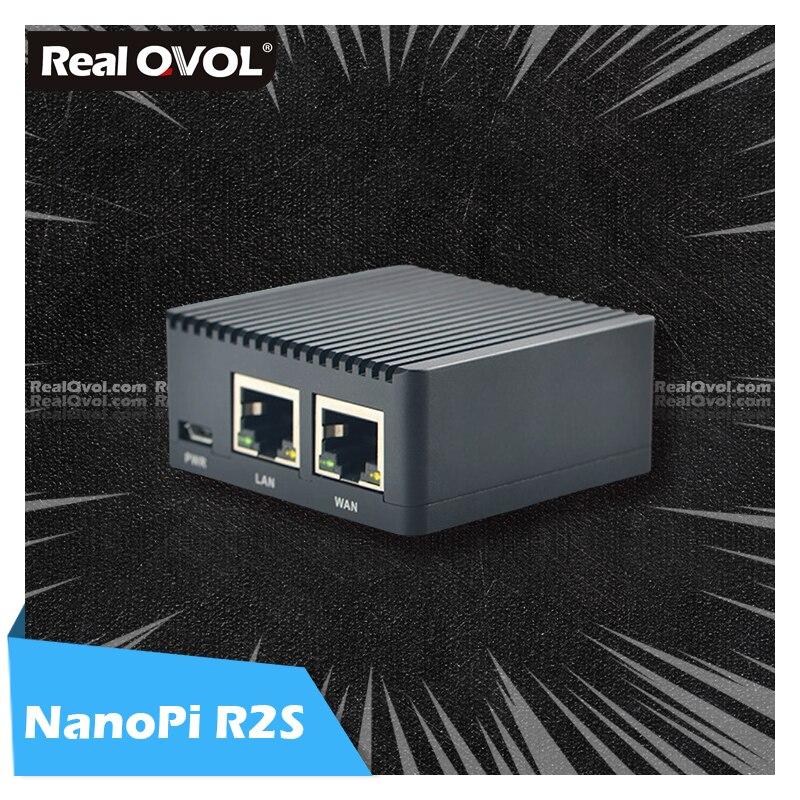 RealQvol FriendlyELEC NanoPi R2S двойные Гбит/с Ethernet шлюзы поддержка OpenWrt LEDE System V2ray Ssr Linux Board Rockchip RK3328