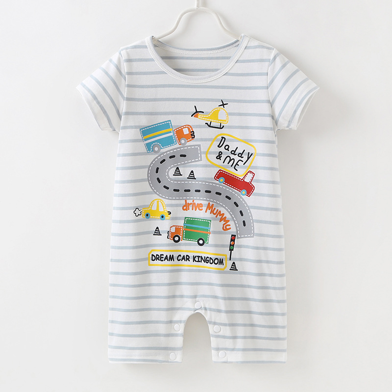 INS Hot Selling Childrenswear Europe And America Summer BOY'S Girls Baby Clothes Cute Zoo Printed Crawling Clothes image