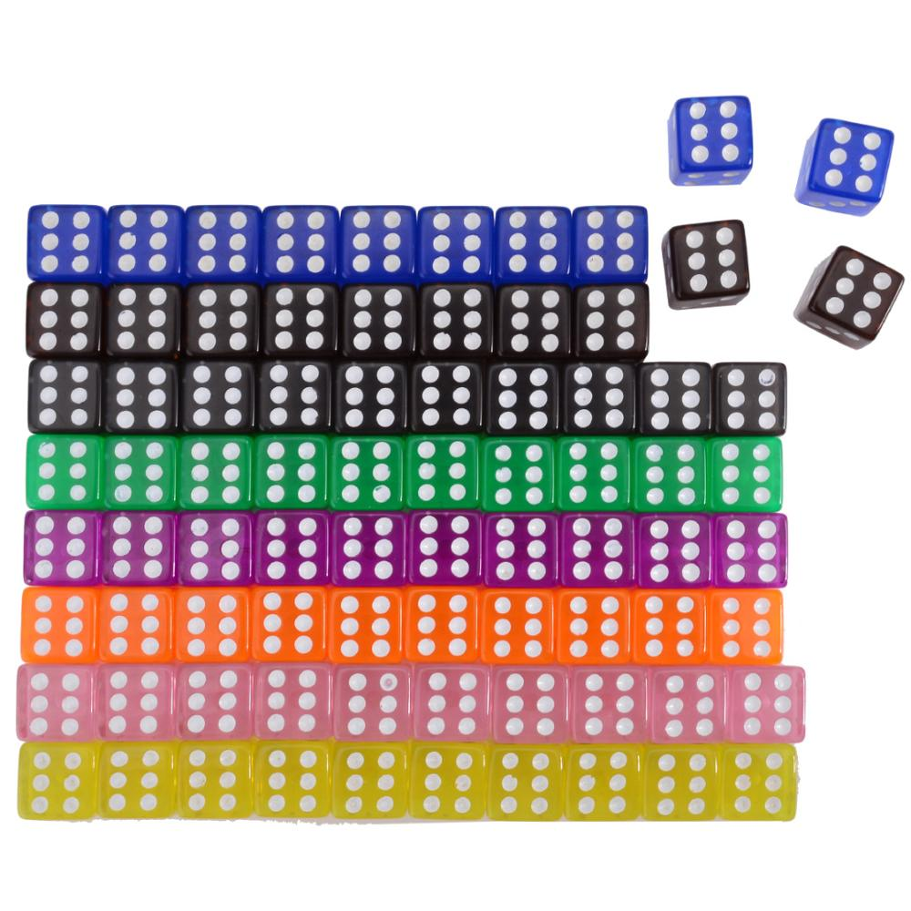 10Pcs Transparent Straight Corner Dice 16mm Portable Role Playing Game Entertainment Family Outdoor Gaming Funny Acrylic Dices image