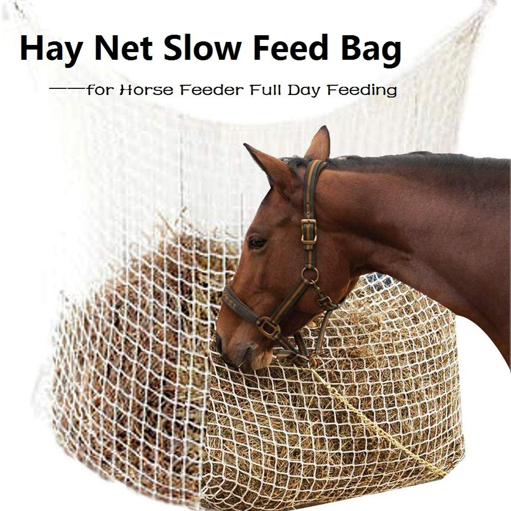 Hay Net Bag Slow Feed Bag For Horse Feeder Full Day Feeding Large Feeder Bag With Small Holes