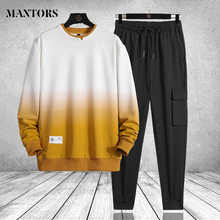 Mens Clothing Tracksuit Sporting-Suit Sweatshirt Two-Pieces-Sets Patchwork Male Fashion
