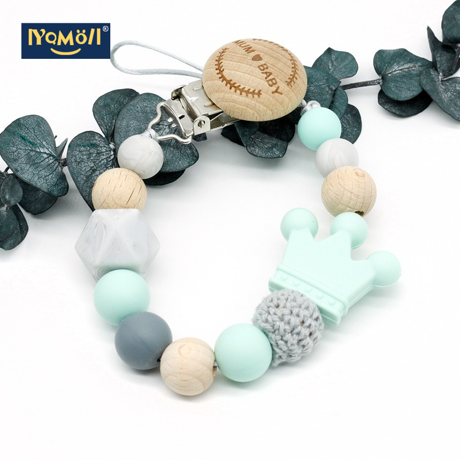Beech Wooden Baby Feeding Wood  Pacifier Clips Pacifier holder  Diy Silicone Bead Dummy Clip Fashion Pacifiers Teether