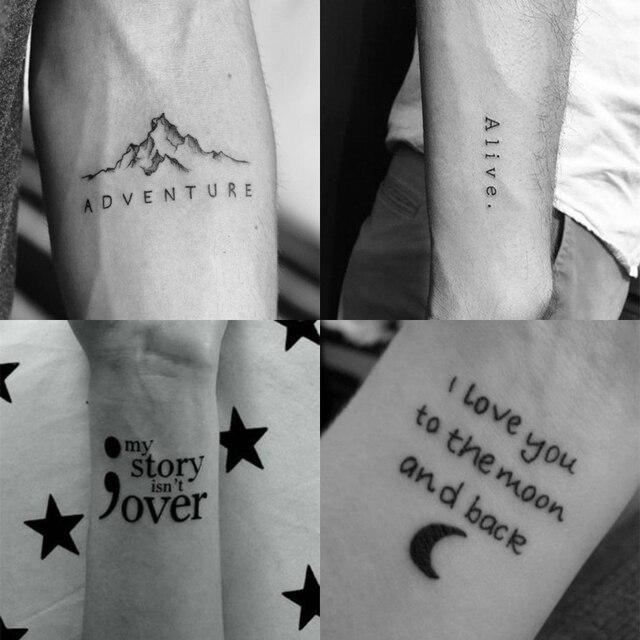 56Sheet Waterproof Temporary Tattoo Sticker Black Devil Doesn't Sleep English Letters Tatoo Fake Tatto Neck Wrist For Woman Men 4
