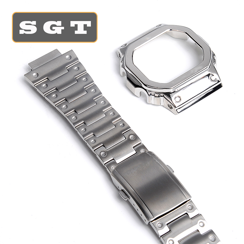 Watchband And Case Stainless Steel  High Quality 316L For Casio DW5600 GW-5000 5035 GW-M5610 Metal Strap Steel Belt Tools