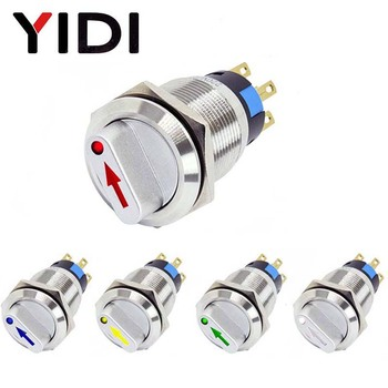 цена на 19mm 2 3 position Metal Selector Rotary Switch Latching Push Button Switch SPDT with 12V LED illuminated switch