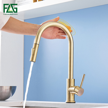 gappo stainless steel touch control kitchen faucets smart sensor kitchen mixer touch faucet for kitchen pull out sink tapsy40112 FLG Brushed Gold Touch Control Kitchen Faucets Smart Sensor Kitchen Tap Stainless Steel Touch Faucet Pull Down Sink Mixer Taps