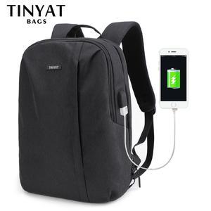 Image 2 - TINYAT męski plecak na laptopa USB na 15.6 calowy plecak męski torba 90c otwarty biznes plecak na ramię męski plecak podróżny Mochila