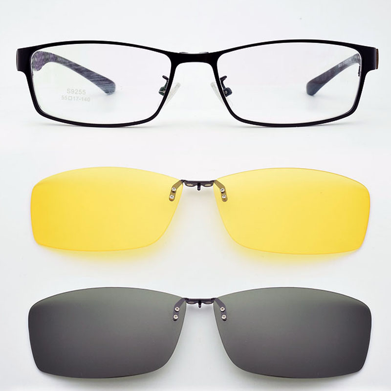 <font><b>Glasses</b></font> Frame <font><b>Men</b></font> <font><b>Progressive</b></font> Magnet Polarized Sunglasses Clip Night Vision Goggles <font><b>Glasses</b></font> Frame with <font><b>Prescription</b></font> Lens image